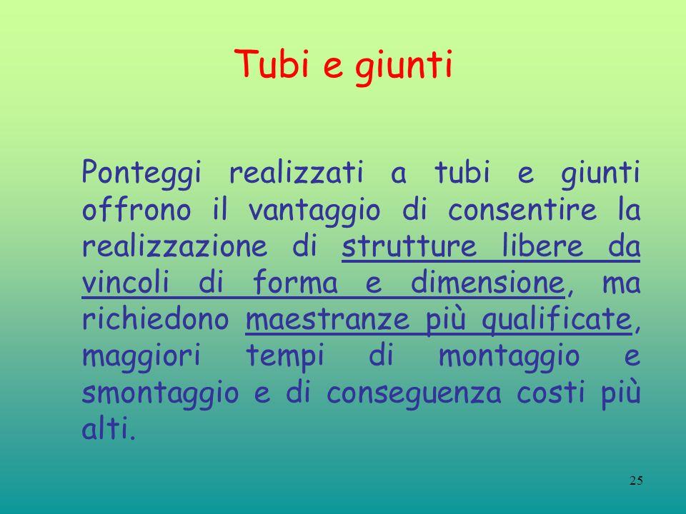 25 Tubi e giunti Ponteggi realizzati a tubi e giunti offrono il vantaggio di consentire la realizzazione di strutture libere da vincoli di forma e dim