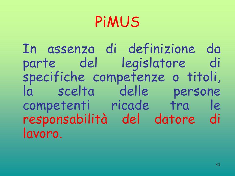32 PiMUS In assenza di definizione da parte del legislatore di specifiche competenze o titoli, la scelta delle persone competenti ricade tra le responsabilità del datore di lavoro.