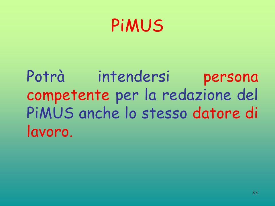 33 PiMUS Potrà intendersi persona competente per la redazione del PiMUS anche lo stesso datore di lavoro.