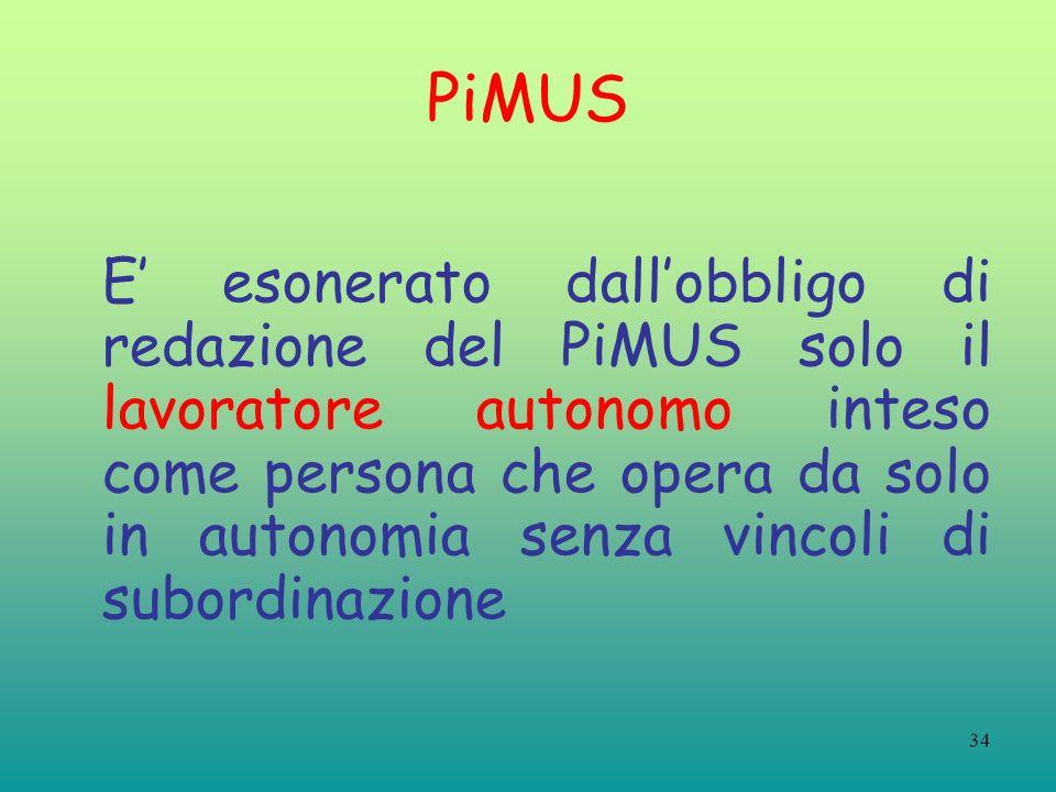 34 PiMUS E esonerato dallobbligo di redazione del PiMUS solo il lavoratore autonomo inteso come persona che opera da solo in autonomia senza vincoli di subordinazione