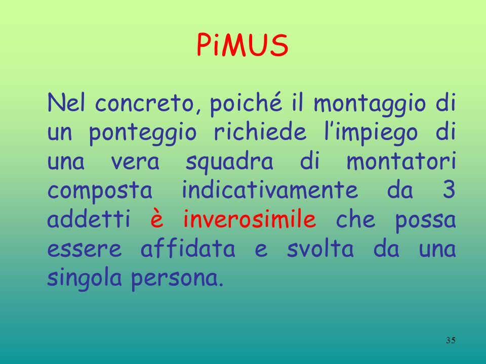 35 PiMUS Nel concreto, poiché il montaggio di un ponteggio richiede limpiego di una vera squadra di montatori composta indicativamente da 3 addetti è inverosimile che possa essere affidata e svolta da una singola persona.