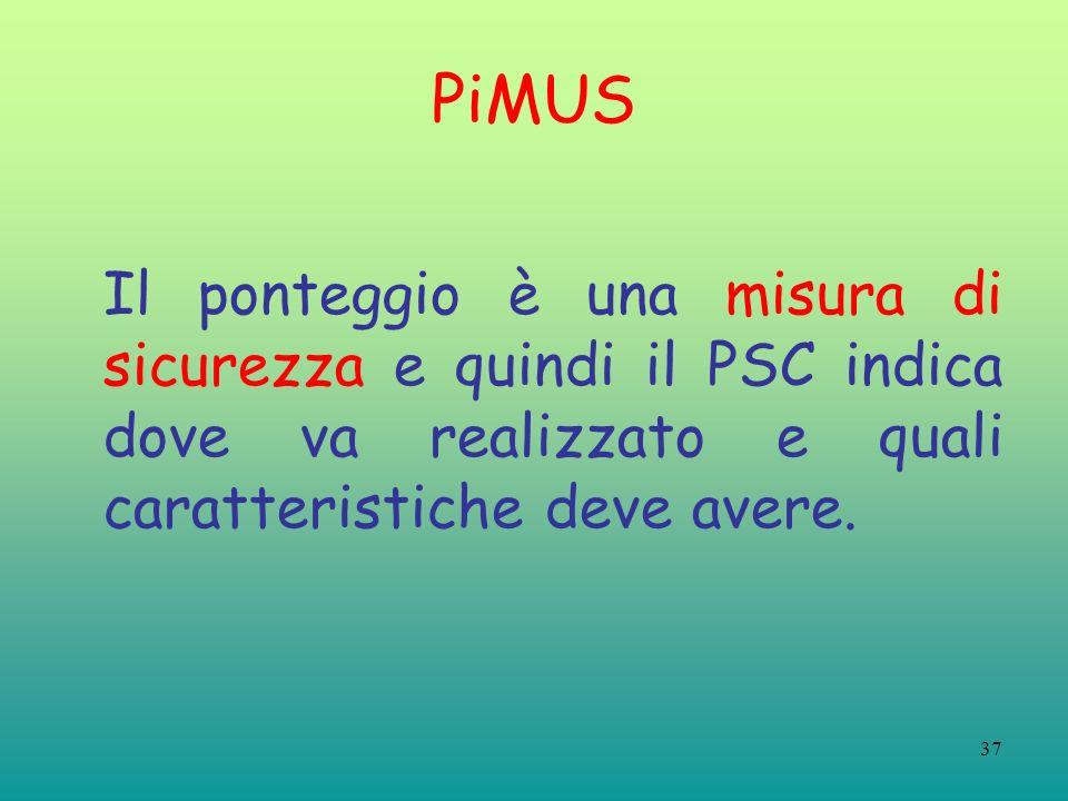 37 PiMUS Il ponteggio è una misura di sicurezza e quindi il PSC indica dove va realizzato e quali caratteristiche deve avere.