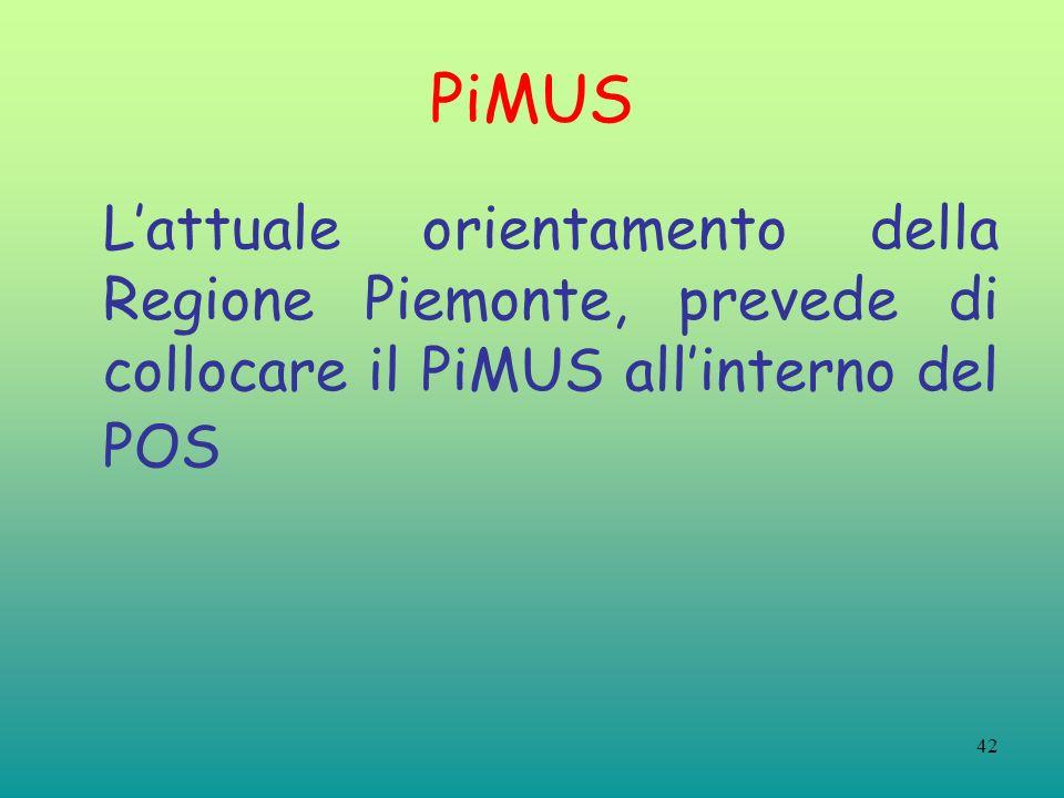 42 PiMUS Lattuale orientamento della Regione Piemonte, prevede di collocare il PiMUS allinterno del POS