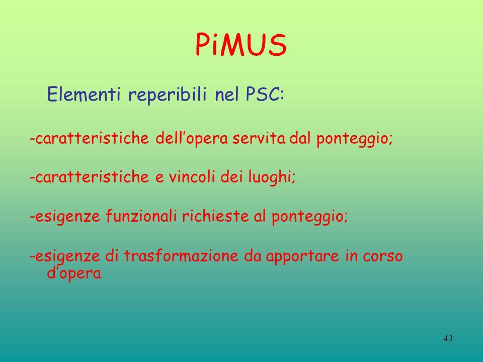 43 PiMUS Elementi reperibili nel PSC: -caratteristiche dellopera servita dal ponteggio; -caratteristiche e vincoli dei luoghi; -esigenze funzionali richieste al ponteggio; -esigenze di trasformazione da apportare in corso dopera