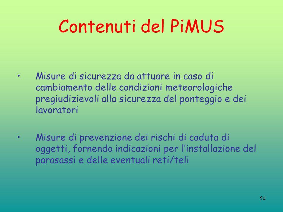 50 Contenuti del PiMUS Misure di sicurezza da attuare in caso di cambiamento delle condizioni meteorologiche pregiudizievoli alla sicurezza del ponteg