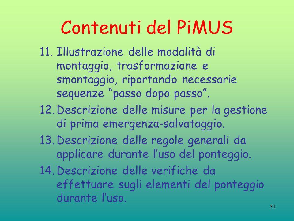 51 Contenuti del PiMUS 11.Illustrazione delle modalità di montaggio, trasformazione e smontaggio, riportando necessarie sequenze passo dopo passo. 12.