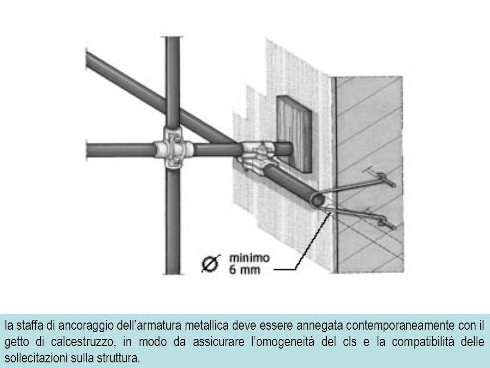 69 la staffa di ancoraggio dellarmatura metallica deve essere annegata contemporaneamente con il getto di calcestruzzo, in modo da assicurare lomogeneità del cls e la compatibilità delle sollecitazioni sulla struttura.