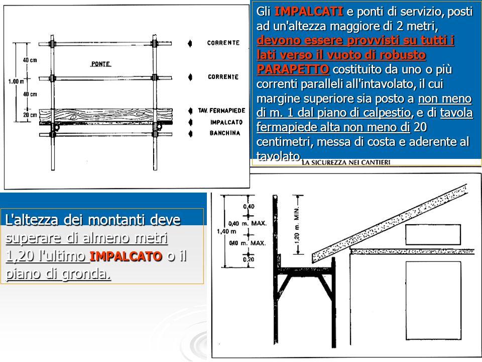 81 Gli IMPALCATI e ponti di servizio, posti ad un'altezza maggiore di 2 metri, devono essere provvisti su tutti i lati verso il vuoto di robusto PARAP