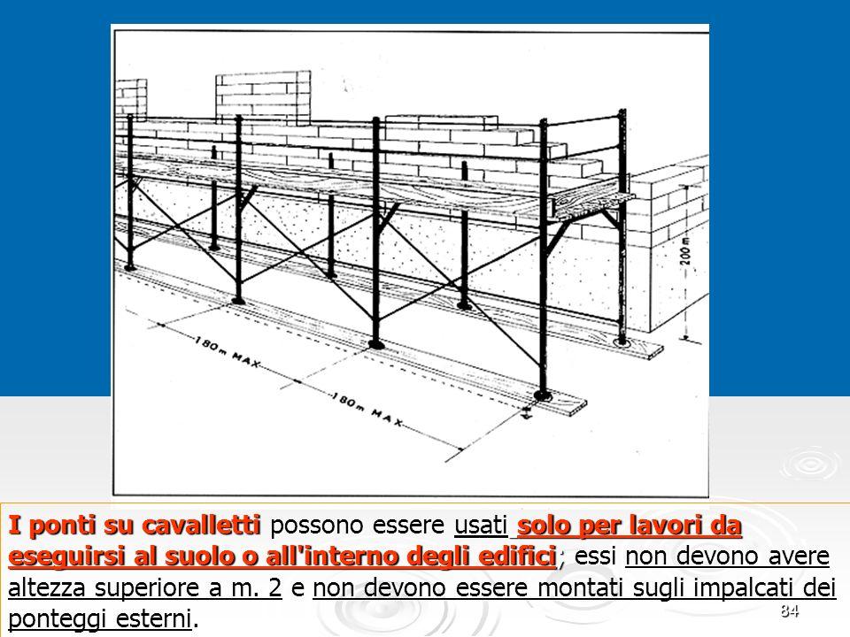 84 I ponti su cavalletti possono essere usati solo per lavori da eseguirsi al suolo o all'interno degli edifici; essi non devono avere altezza superio