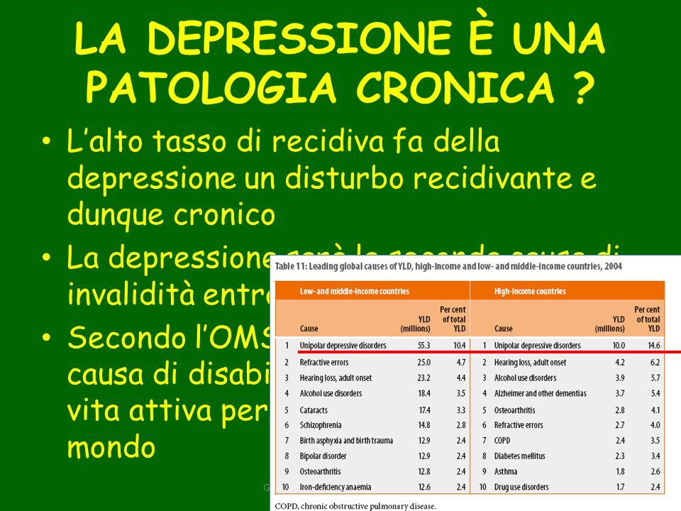 LA DEPRESSIONE È UNA PATOLOGIA CRONICA .