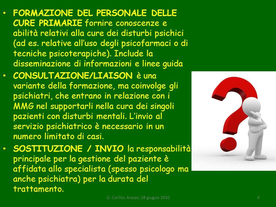 FORMAZIONE DEL PERSONALE DELLE CURE PRIMARIE fornire conoscenze e abilità relativi alla cure dei disturbi psichici (ad es.