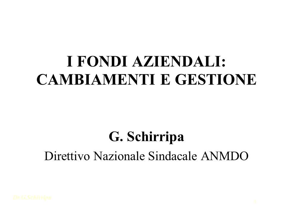 Dr.G.Schirripa 1 I FONDI AZIENDALI: CAMBIAMENTI E GESTIONE G. Schirripa Direttivo Nazionale Sindacale ANMDO