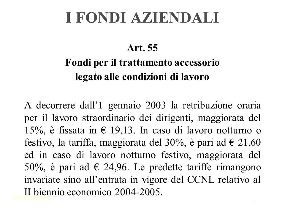 Dr.G.Schirripa 1 I FONDI AZIENDALI Art. 55 Fondi per il trattamento accessorio legato alle condizioni di lavoro A decorrere dall1 gennaio 2003 la retr