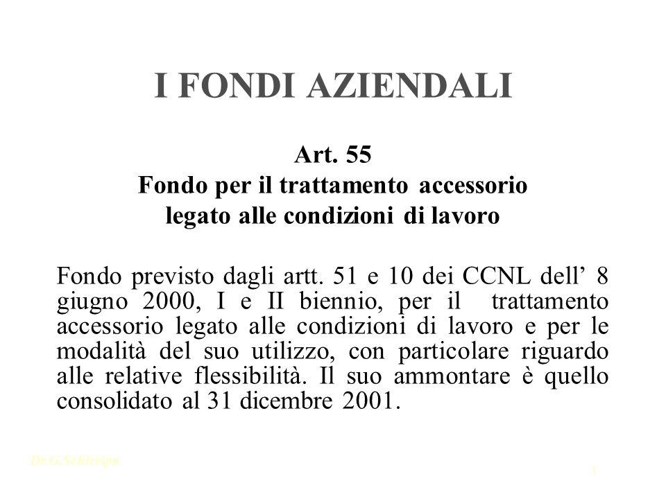 Dr.G.Schirripa 1 I FONDI AZIENDALI Art. 55 Fondo per il trattamento accessorio legato alle condizioni di lavoro Fondo previsto dagli artt. 51 e 10 dei