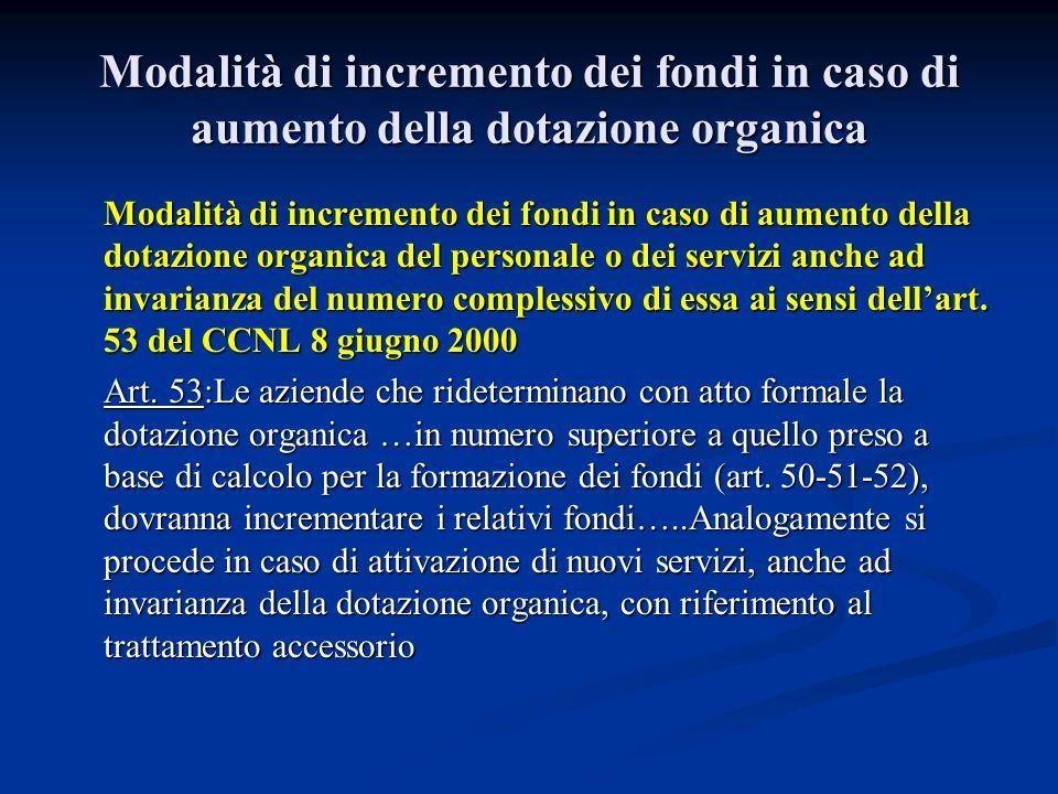 Modalità di incremento dei fondi in caso di aumento della dotazione organica Modalità di incremento dei fondi in caso di aumento della dotazione organ