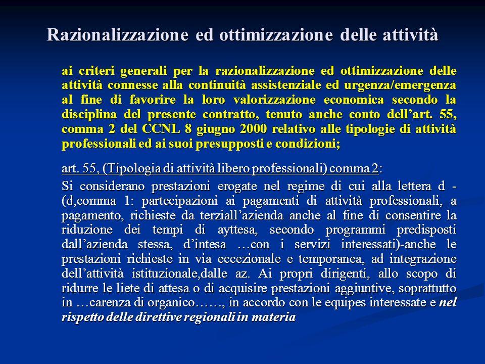 Razionalizzazione ed ottimizzazione delle attività ai criteri generali per la razionalizzazione ed ottimizzazione delle attività connesse alla continu