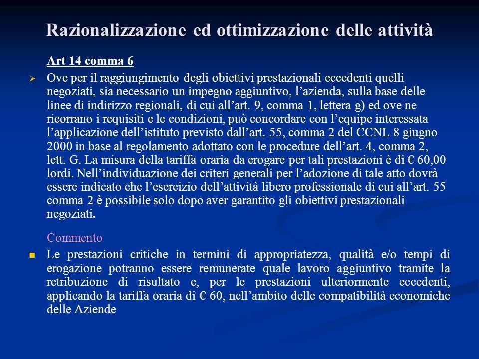 Razionalizzazione ed ottimizzazione delle attività Art 14 comma 6 Ove per il raggiungimento degli obiettivi prestazionali eccedenti quelli negoziati,