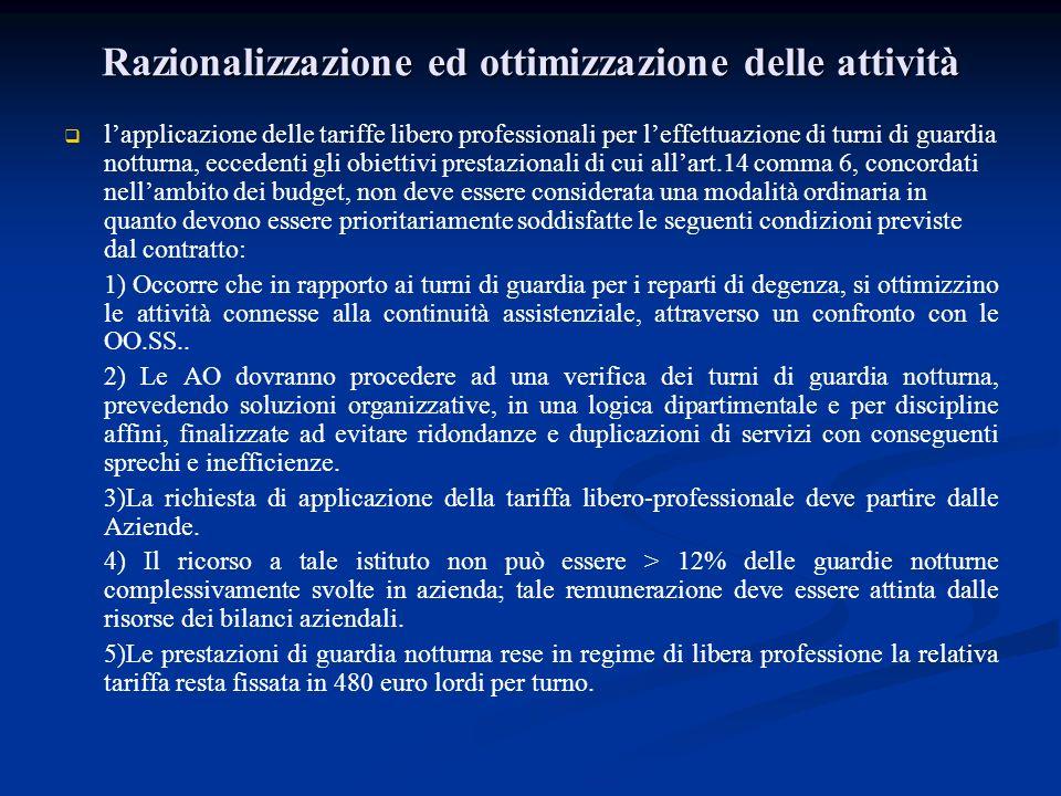Razionalizzazione ed ottimizzazione delle attività lapplicazione delle tariffe libero professionali per leffettuazione di turni di guardia notturna, e
