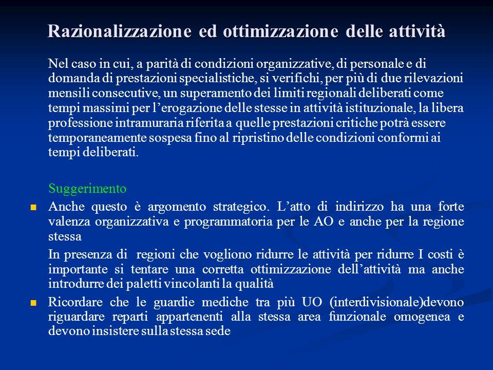 Razionalizzazione ed ottimizzazione delle attività Nel caso in cui, a parità di condizioni organizzative, di personale e di domanda di prestazioni spe