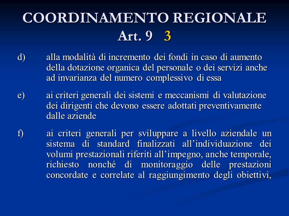 COORDINAMENTO REGIONALE Art. 9 3 d) alla modalità di incremento dei fondi in caso di aumento della dotazione organica del personale o dei servizi anch