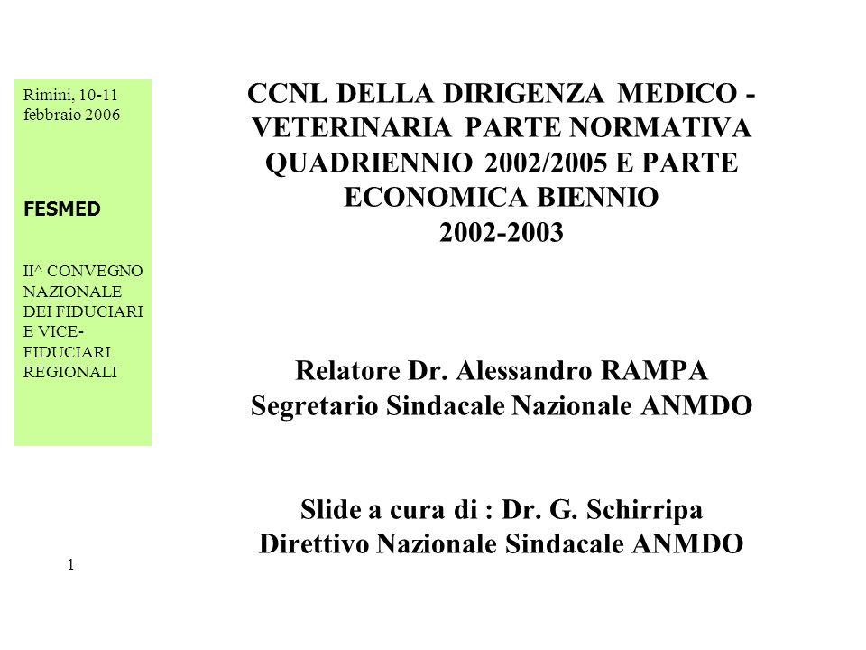 Rimini, 10-11 febbraio 2006 FESMED II^ CONVEGNO NAZIONALE DEI FIDUCIARI E VICE- FIDUCIARI REGIONALI 2 CCNL DELLA DIRIGENZA MEDICO - VETERINARIA PARTE NORMATIVA QUADRIENNIO 2002/2005 E PARTE ECONOMICA BIENNIO 2002-2003 Art.