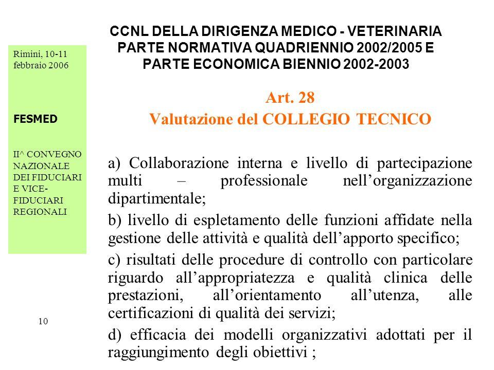 Rimini, 10-11 febbraio 2006 FESMED II^ CONVEGNO NAZIONALE DEI FIDUCIARI E VICE- FIDUCIARI REGIONALI 10 CCNL DELLA DIRIGENZA MEDICO - VETERINARIA PARTE