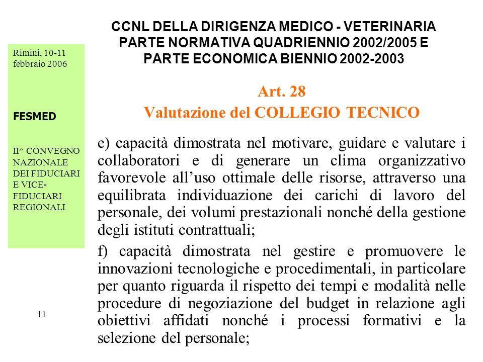 Rimini, 10-11 febbraio 2006 FESMED II^ CONVEGNO NAZIONALE DEI FIDUCIARI E VICE- FIDUCIARI REGIONALI 11 CCNL DELLA DIRIGENZA MEDICO - VETERINARIA PARTE