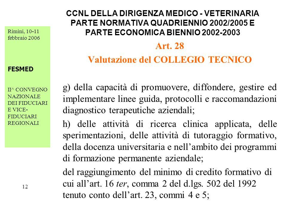 Rimini, 10-11 febbraio 2006 FESMED II^ CONVEGNO NAZIONALE DEI FIDUCIARI E VICE- FIDUCIARI REGIONALI 12 CCNL DELLA DIRIGENZA MEDICO - VETERINARIA PARTE