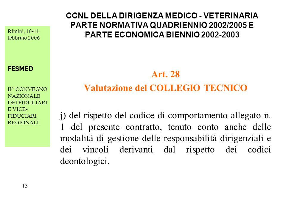 Rimini, 10-11 febbraio 2006 FESMED II^ CONVEGNO NAZIONALE DEI FIDUCIARI E VICE- FIDUCIARI REGIONALI 13 CCNL DELLA DIRIGENZA MEDICO - VETERINARIA PARTE