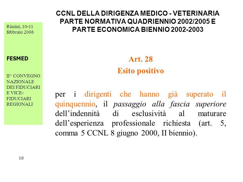 Rimini, 10-11 febbraio 2006 FESMED II^ CONVEGNO NAZIONALE DEI FIDUCIARI E VICE- FIDUCIARI REGIONALI 16 CCNL DELLA DIRIGENZA MEDICO - VETERINARIA PARTE