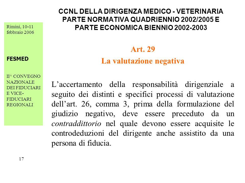 Rimini, 10-11 febbraio 2006 FESMED II^ CONVEGNO NAZIONALE DEI FIDUCIARI E VICE- FIDUCIARI REGIONALI 17 CCNL DELLA DIRIGENZA MEDICO - VETERINARIA PARTE