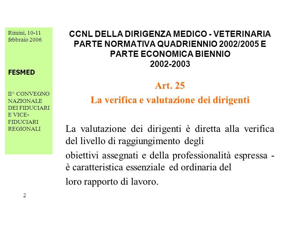 Rimini, 10-11 febbraio 2006 FESMED II^ CONVEGNO NAZIONALE DEI FIDUCIARI E VICE- FIDUCIARI REGIONALI 23 CCNL DELLA DIRIGENZA MEDICO - VETERINARIA PARTE NORMATIVA QUADRIENNIO 2002/2005 E PARTE ECONOMICA BIENNIO 2002-2003 Art.