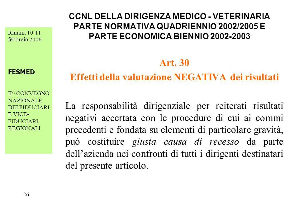 Rimini, 10-11 febbraio 2006 FESMED II^ CONVEGNO NAZIONALE DEI FIDUCIARI E VICE- FIDUCIARI REGIONALI 26 CCNL DELLA DIRIGENZA MEDICO - VETERINARIA PARTE