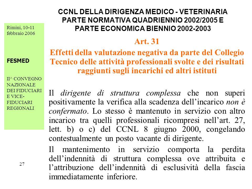 Rimini, 10-11 febbraio 2006 FESMED II^ CONVEGNO NAZIONALE DEI FIDUCIARI E VICE- FIDUCIARI REGIONALI 27 CCNL DELLA DIRIGENZA MEDICO - VETERINARIA PARTE