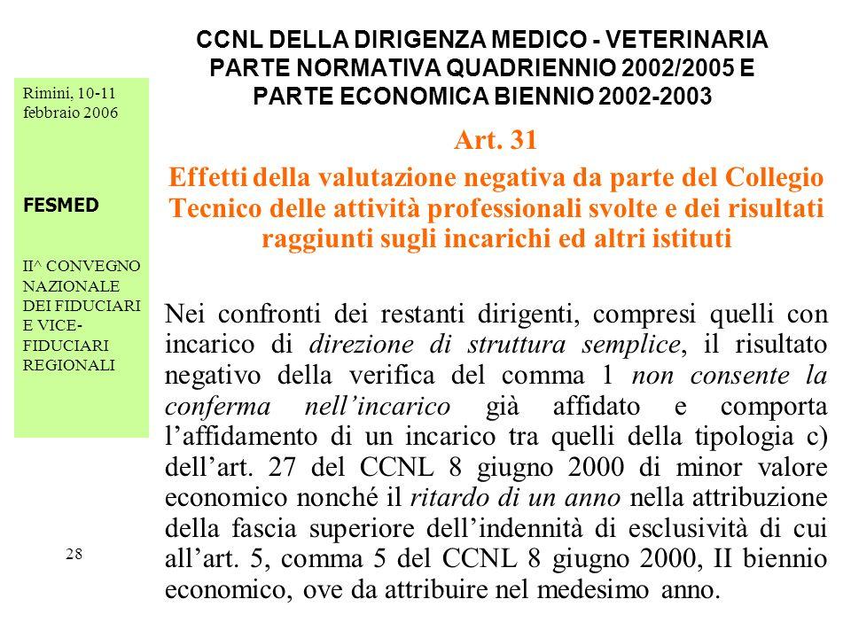 Rimini, 10-11 febbraio 2006 FESMED II^ CONVEGNO NAZIONALE DEI FIDUCIARI E VICE- FIDUCIARI REGIONALI 28 CCNL DELLA DIRIGENZA MEDICO - VETERINARIA PARTE