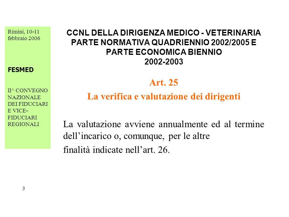Rimini, 10-11 febbraio 2006 FESMED II^ CONVEGNO NAZIONALE DEI FIDUCIARI E VICE- FIDUCIARI REGIONALI 24 CCNL DELLA DIRIGENZA MEDICO - VETERINARIA PARTE NORMATIVA QUADRIENNIO 2002/2005 E PARTE ECONOMICA BIENNIO 2002-2003 Art.