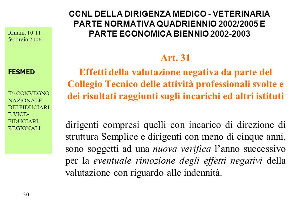 Rimini, 10-11 febbraio 2006 FESMED II^ CONVEGNO NAZIONALE DEI FIDUCIARI E VICE- FIDUCIARI REGIONALI 30 CCNL DELLA DIRIGENZA MEDICO - VETERINARIA PARTE