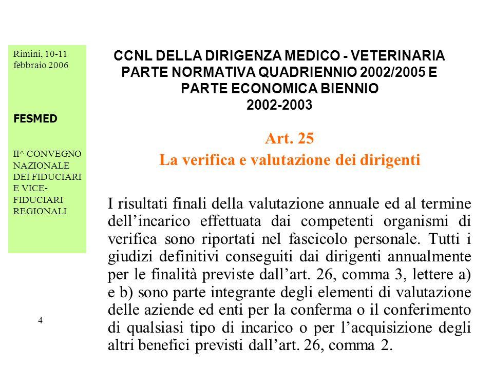 Rimini, 10-11 febbraio 2006 FESMED II^ CONVEGNO NAZIONALE DEI FIDUCIARI E VICE- FIDUCIARI REGIONALI 25 CCNL DELLA DIRIGENZA MEDICO - VETERINARIA PARTE NORMATIVA QUADRIENNIO 2002/2005 E PARTE ECONOMICA BIENNIO 2002-2003 Art.