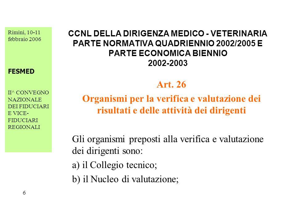 Rimini, 10-11 febbraio 2006 FESMED II^ CONVEGNO NAZIONALE DEI FIDUCIARI E VICE- FIDUCIARI REGIONALI 27 CCNL DELLA DIRIGENZA MEDICO - VETERINARIA PARTE NORMATIVA QUADRIENNIO 2002/2005 E PARTE ECONOMICA BIENNIO 2002-2003 Art.