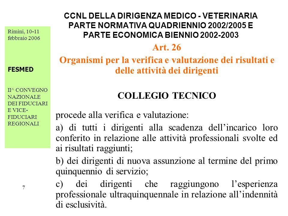 Rimini, 10-11 febbraio 2006 FESMED II^ CONVEGNO NAZIONALE DEI FIDUCIARI E VICE- FIDUCIARI REGIONALI 18 CCNL DELLA DIRIGENZA MEDICO - VETERINARIA PARTE NORMATIVA QUADRIENNIO 2002/2005 E PARTE ECONOMICA BIENNIO 2002-2003 Art.