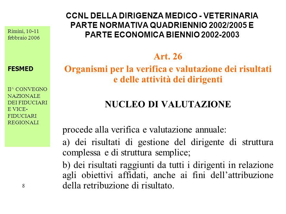 Rimini, 10-11 febbraio 2006 FESMED II^ CONVEGNO NAZIONALE DEI FIDUCIARI E VICE- FIDUCIARI REGIONALI 29 CCNL DELLA DIRIGENZA MEDICO - VETERINARIA PARTE NORMATIVA QUADRIENNIO 2002/2005 E PARTE ECONOMICA BIENNIO 2002-2003 Art.