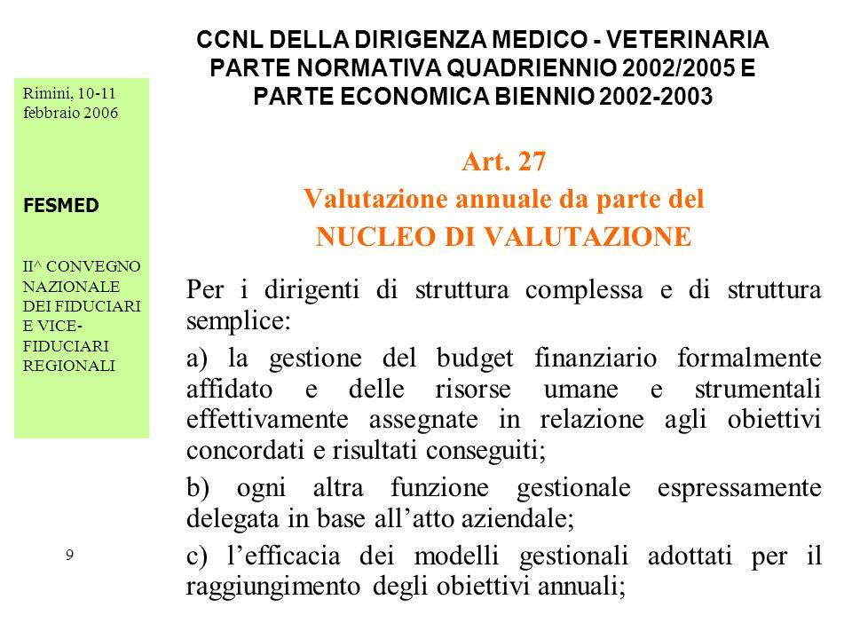 Rimini, 10-11 febbraio 2006 FESMED II^ CONVEGNO NAZIONALE DEI FIDUCIARI E VICE- FIDUCIARI REGIONALI 30 CCNL DELLA DIRIGENZA MEDICO - VETERINARIA PARTE NORMATIVA QUADRIENNIO 2002/2005 E PARTE ECONOMICA BIENNIO 2002-2003 Art.