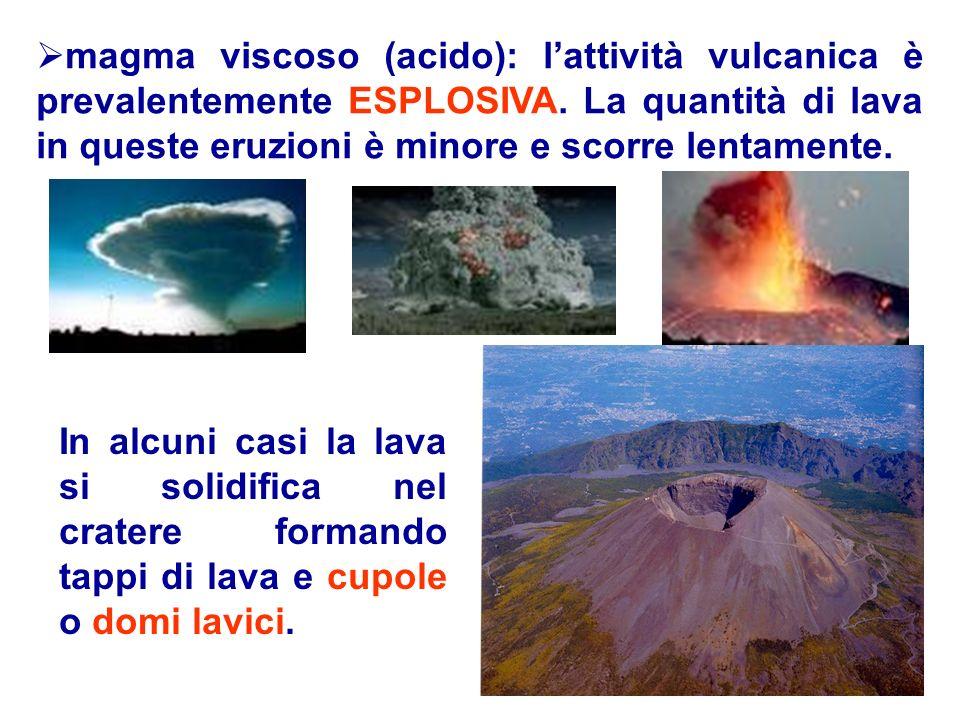 magma viscoso (acido): lattività vulcanica è prevalentemente ESPLOSIVA. La quantità di lava in queste eruzioni è minore e scorre lentamente. In alcuni
