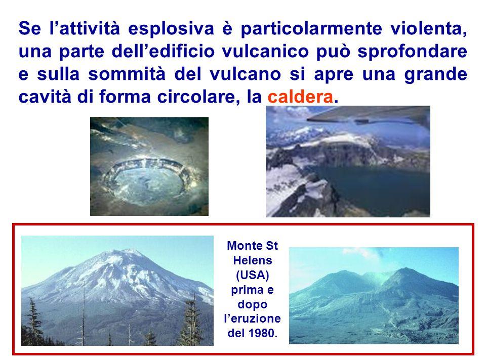 Se lattività esplosiva è particolarmente violenta, una parte delledificio vulcanico può sprofondare e sulla sommità del vulcano si apre una grande cav