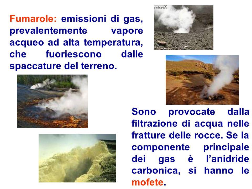 Fumarole: emissioni di gas, prevalentemente vapore acqueo ad alta temperatura, che fuoriescono dalle spaccature del terreno. Sono provocate dalla filt