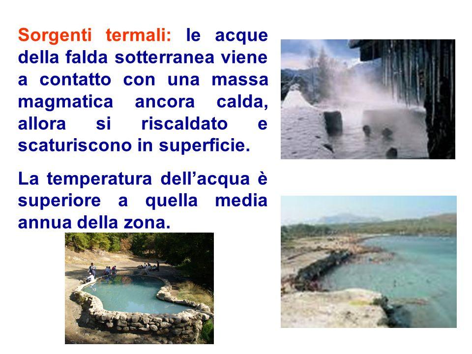 Sorgenti termali: le acque della falda sotterranea viene a contatto con una massa magmatica ancora calda, allora si riscaldato e scaturiscono in super