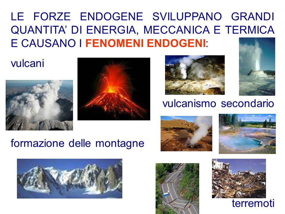 LE FORZE ENDOGENE SVILUPPANO GRANDI QUANTITA DI ENERGIA, MECCANICA E TERMICA E CAUSANO I FENOMENI ENDOGENI: vulcani vulcanismo secondario formazione d