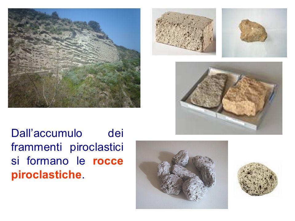 Dallaccumulo dei frammenti piroclastici si formano le rocce piroclastiche.