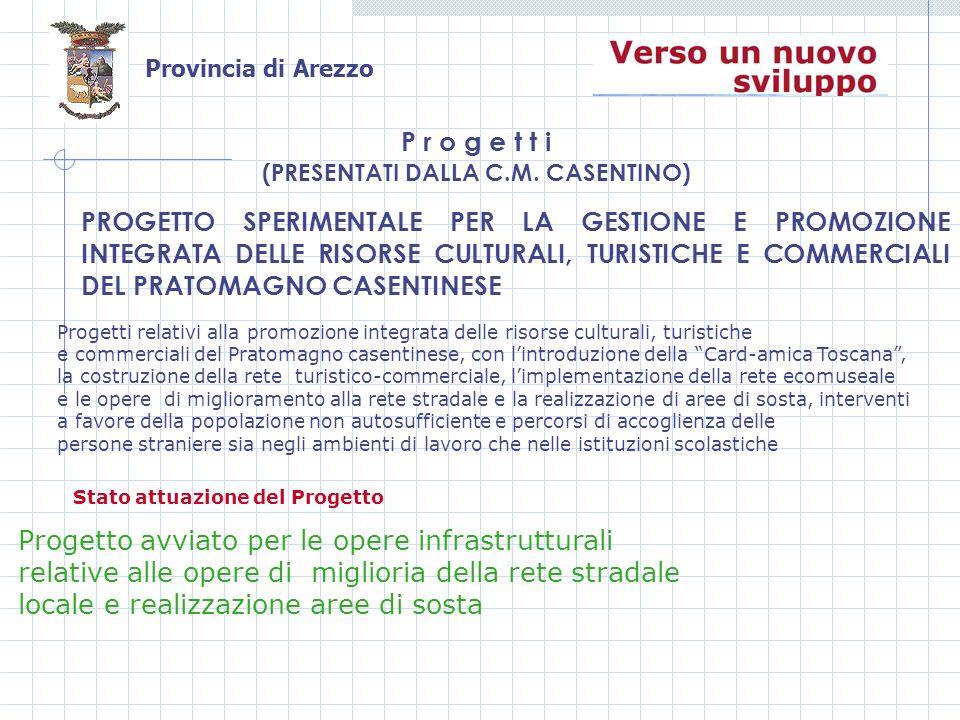 Provincia di Arezzo PROGETTO SPERIMENTALE PER LA GESTIONE E PROMOZIONE INTEGRATA DELLE RISORSE CULTURALI, TURISTICHE E COMMERCIALI DEL PRATOMAGNO CASENTINESE P r o g e t t i (PRESENTATI DALLA C.M.