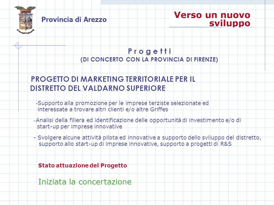 Provincia di Arezzo PROGETTO DI MARKETING TERRITORIALE PER IL DISTRETTO DEL VALDARNO SUPERIORE P r o g e t t i (DI CONCERTO CON LA PROVINCIA DI FIRENZE) Stato attuazione del Progetto – Analisi della filiera ed identificazione delle opportunità di investimento e/o di start-up per imprese innovative - Supporto alla promozione per le imprese terziste selezionate ed interessate a trovare altri clienti e/o altre Griffes - Svolgere alcune attività pilota ed innovative a supporto dello sviluppo del distretto, supporto allo start-up di imprese innovative, supporto a progetti di R&S Iniziata la concertazione